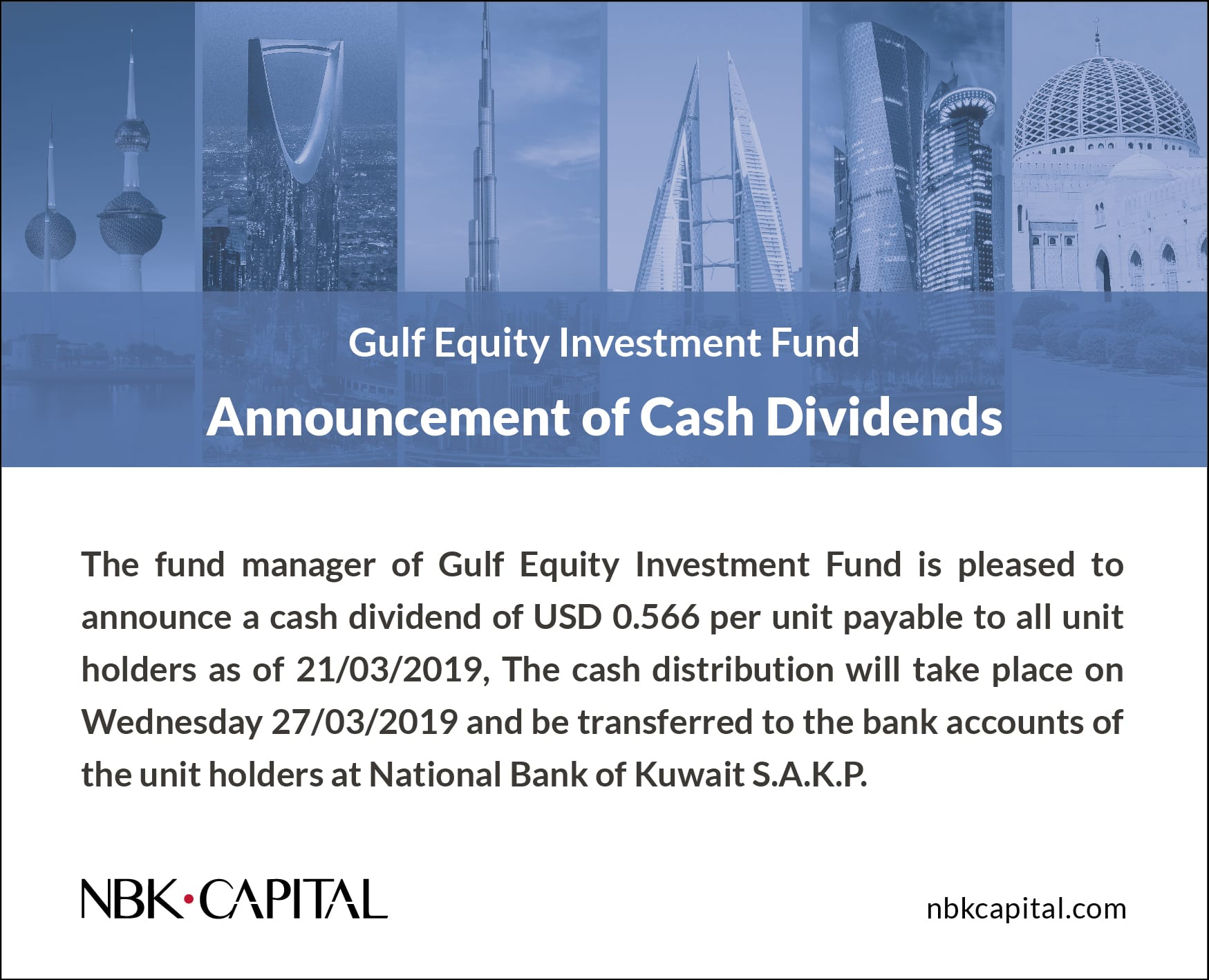 Gulf Equity Investment Fund Announcement of Cash Dividends