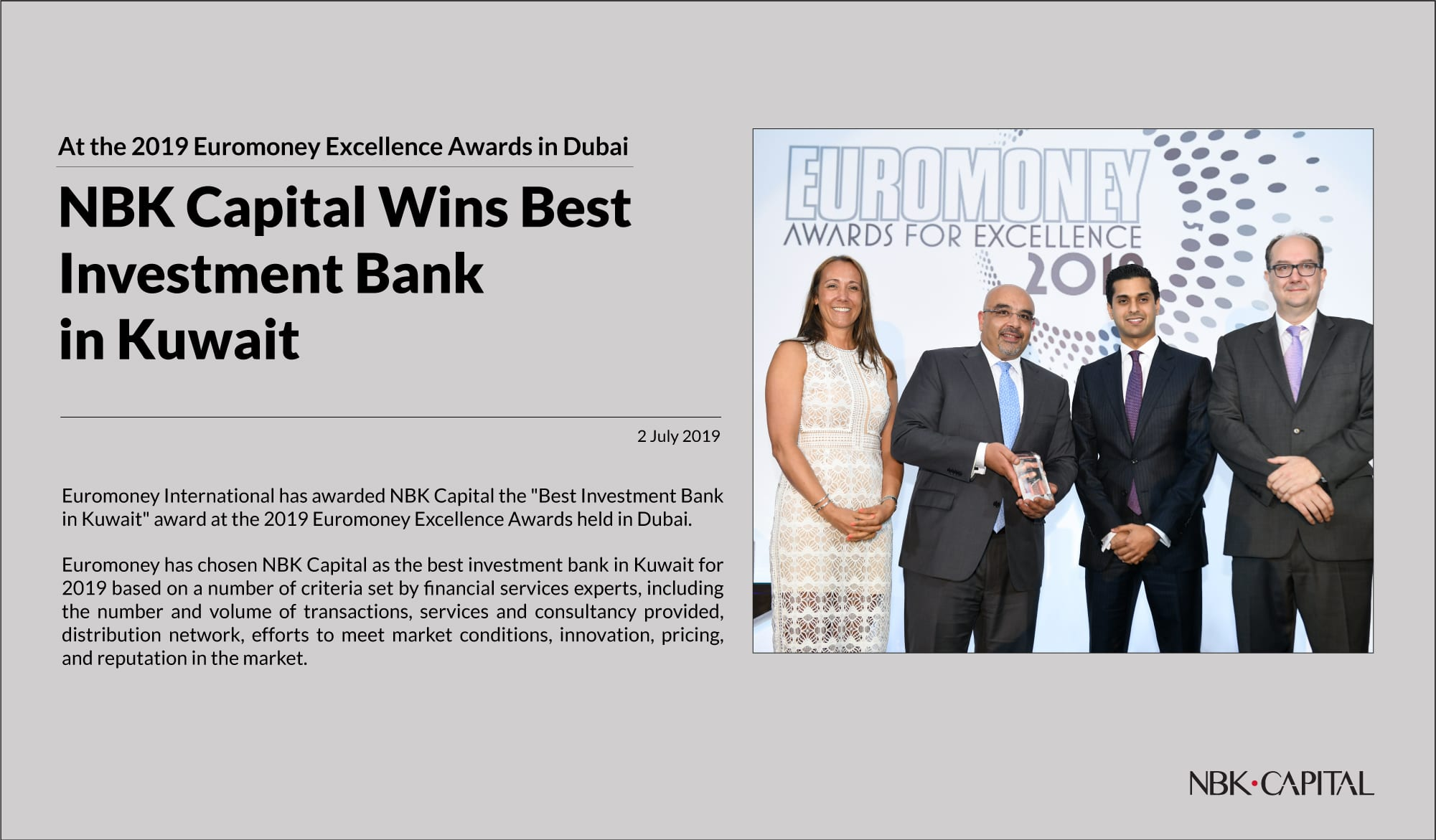NBK Capital Wins Best Investment Bank in Kuwait