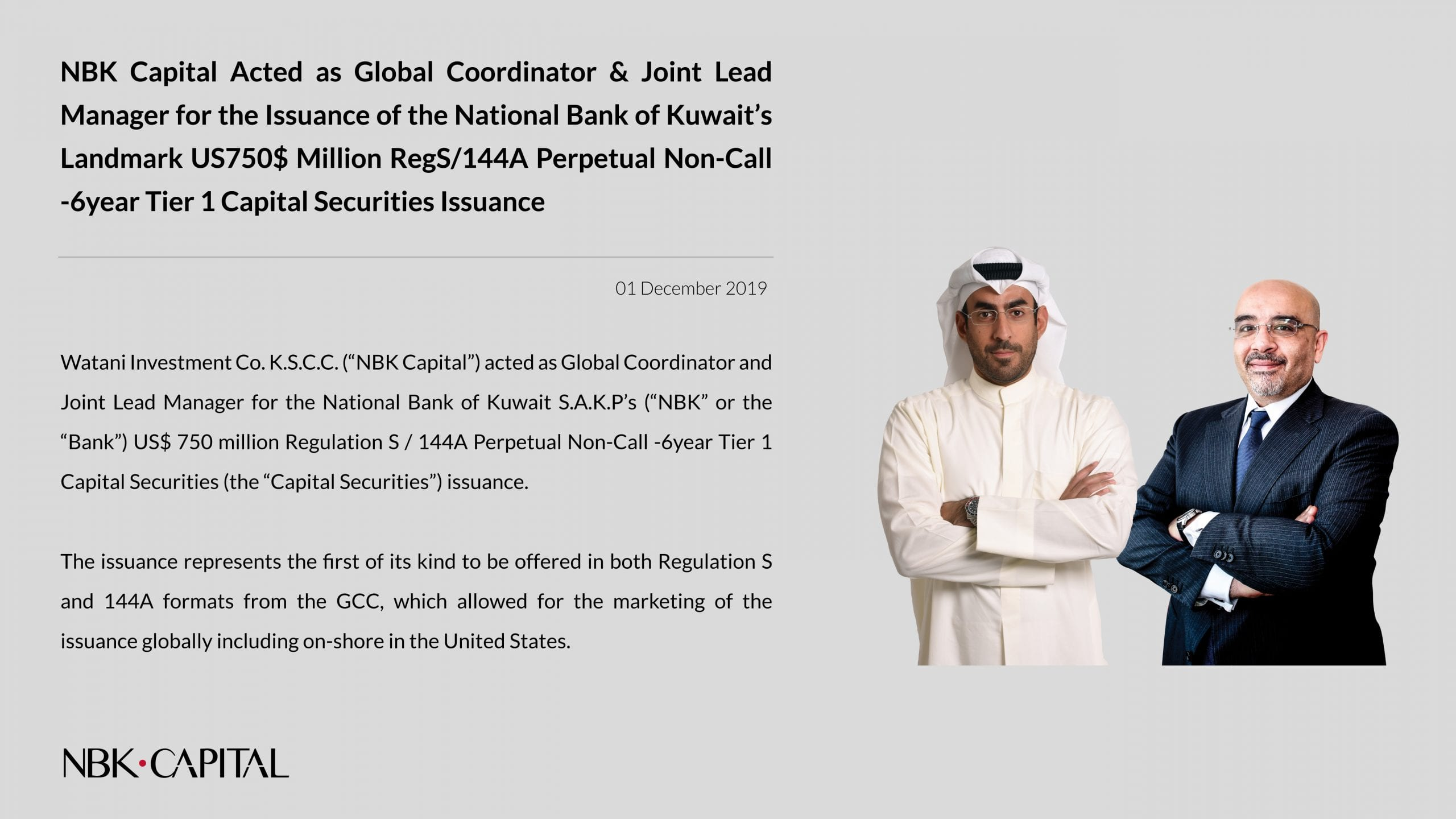 NBK Capital Acts as Global Coordinator and JLM for NBK Issuance