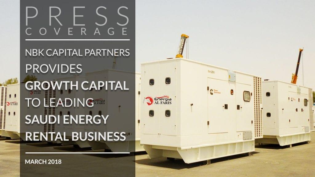 BK Capital Partners provides growth capital to Energia leading Saudi energy rental business