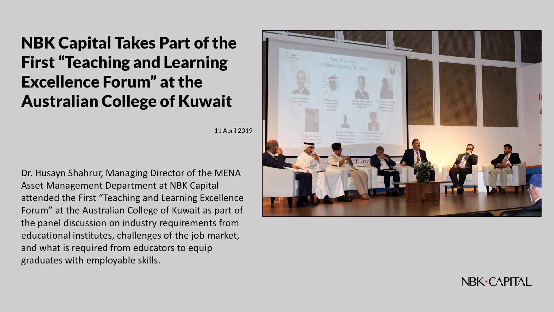 """NBK Capital Takes Part of the First """"Teaching and Learning Excellence Forum"""" at the Australian College of Kuwait"""