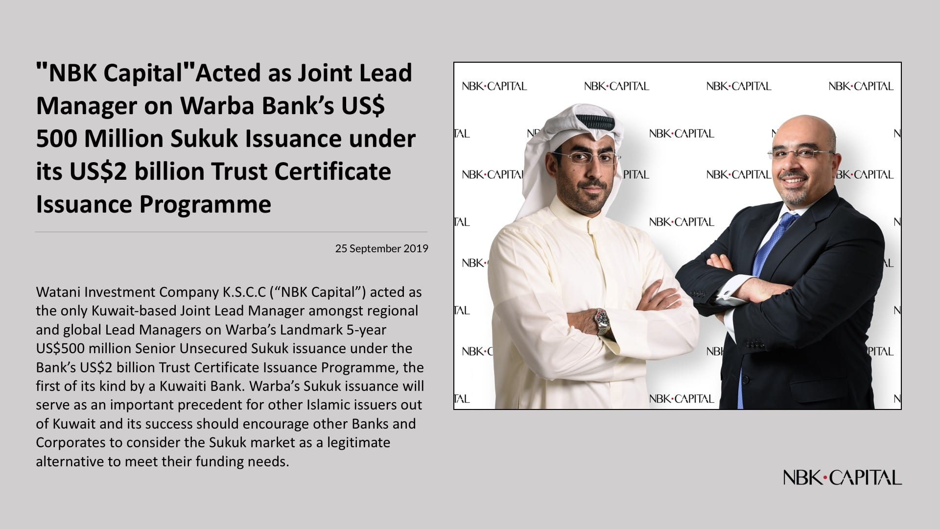 """""""NBK Capital"""" Acted as Joint Lead Manager on Warba Bank's US$ 500 Million Sukuk Issuance under its US$2 billion Trust Certificate Issuance Programme"""