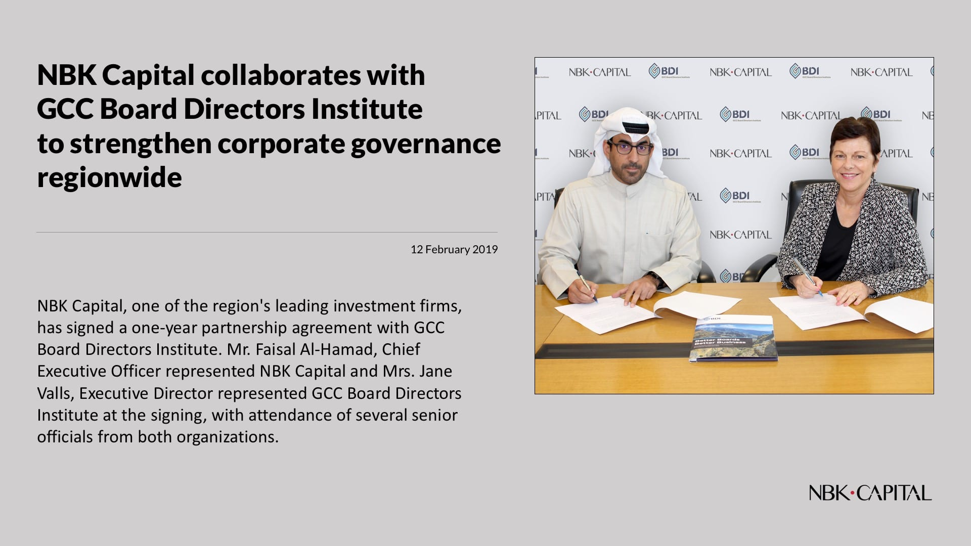 NBK Capital inks partnership with GCC Board Directors Institute
