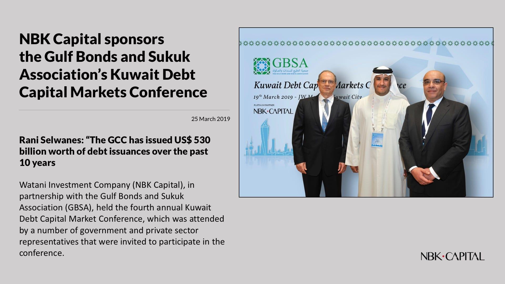 NBK Capital sponsors the Gulf Bonds and Sukuk Association's Kuwait Debt Capital Markets Conference
