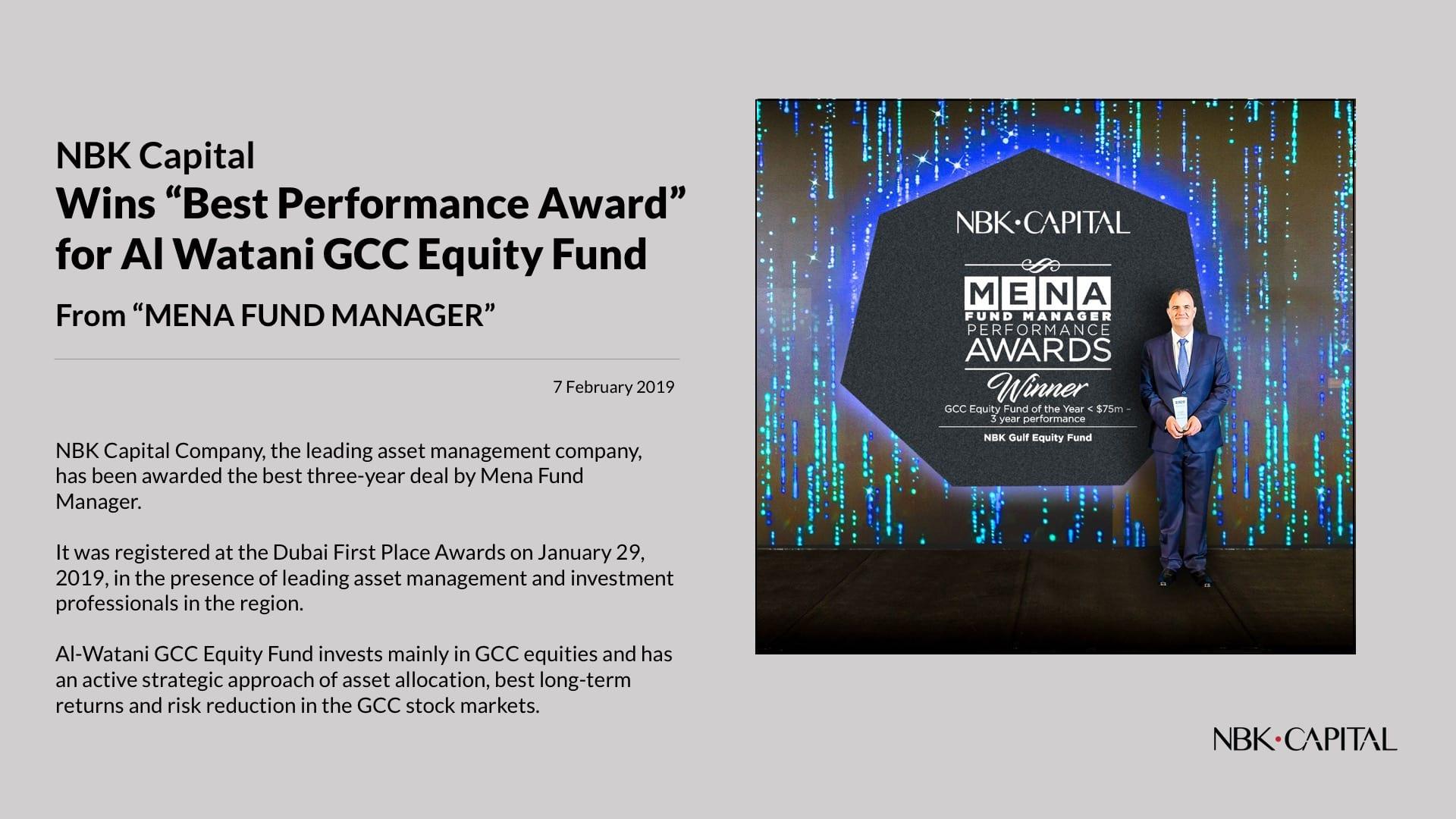 NBK Capital 'wins Best Performance Award' for Al-Watani Equity Fund