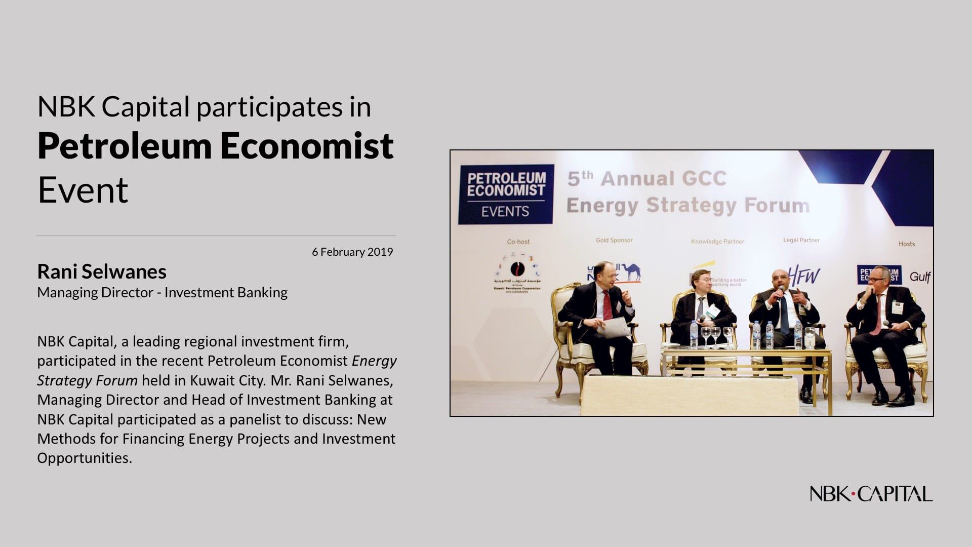 NBK Capital participates in Energy Strategy Forum