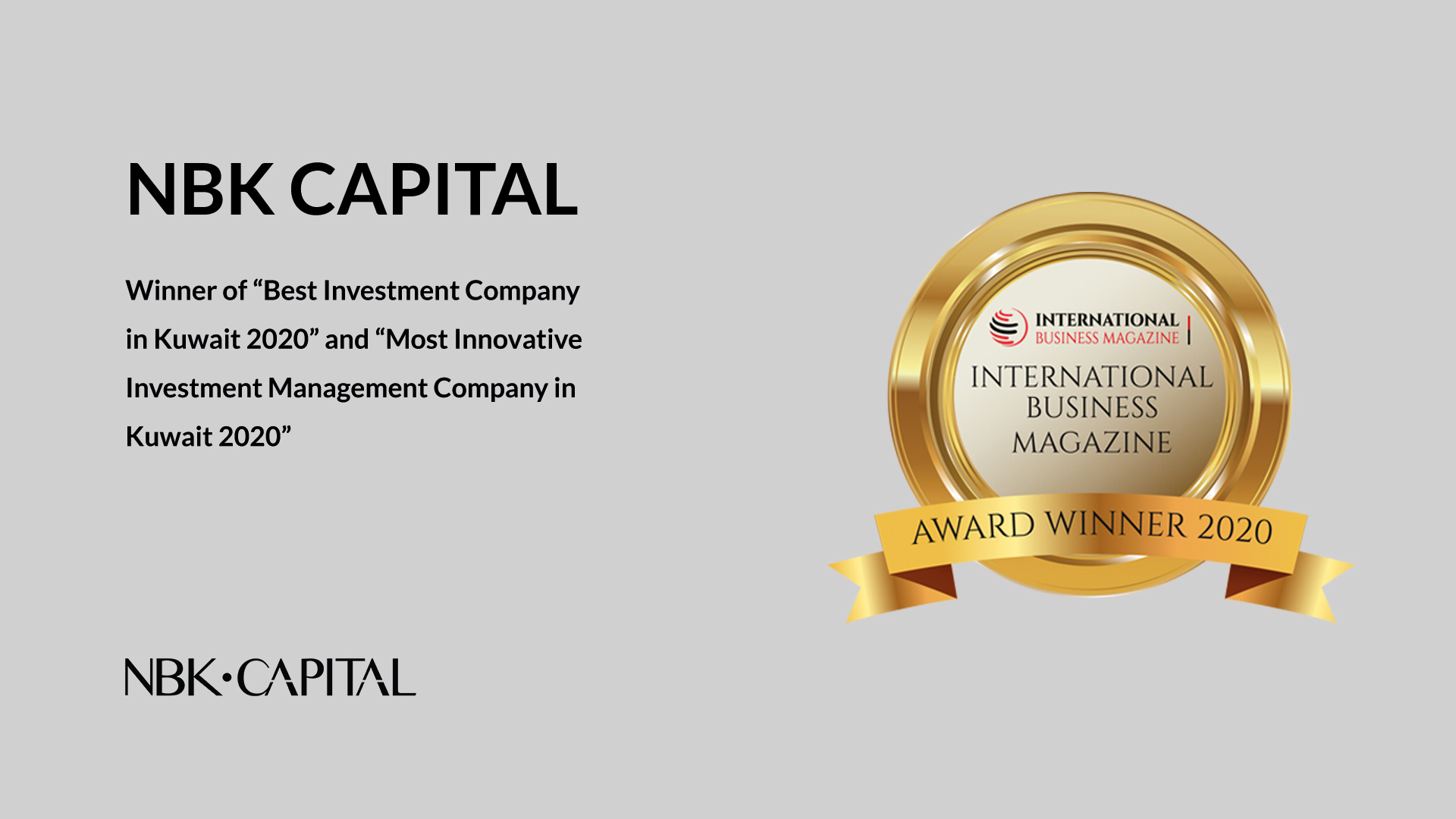 """NBK Capital: Winner of """"Best Investment Company in Kuwait 2020"""" and """"Most Innovative Investment Management Company in Kuwait 2020"""""""