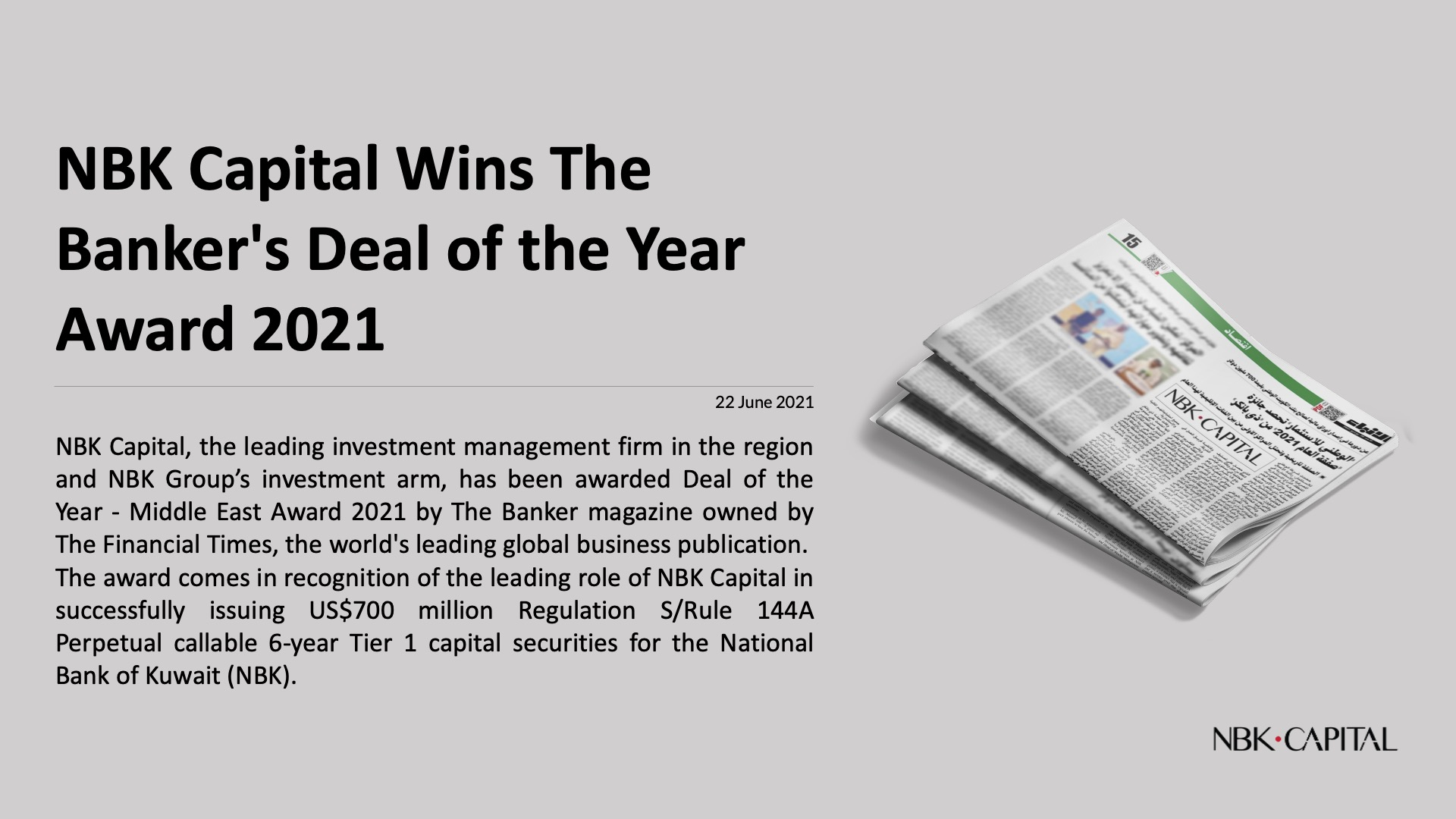 NBK Capital Wins The Banker's Deal of the Year Award 2021